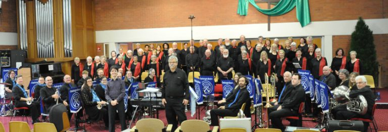 Choir and Band together with conductors